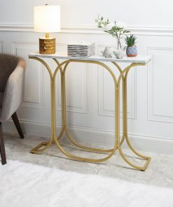 deidra white marble top and gold metal frame slim console table