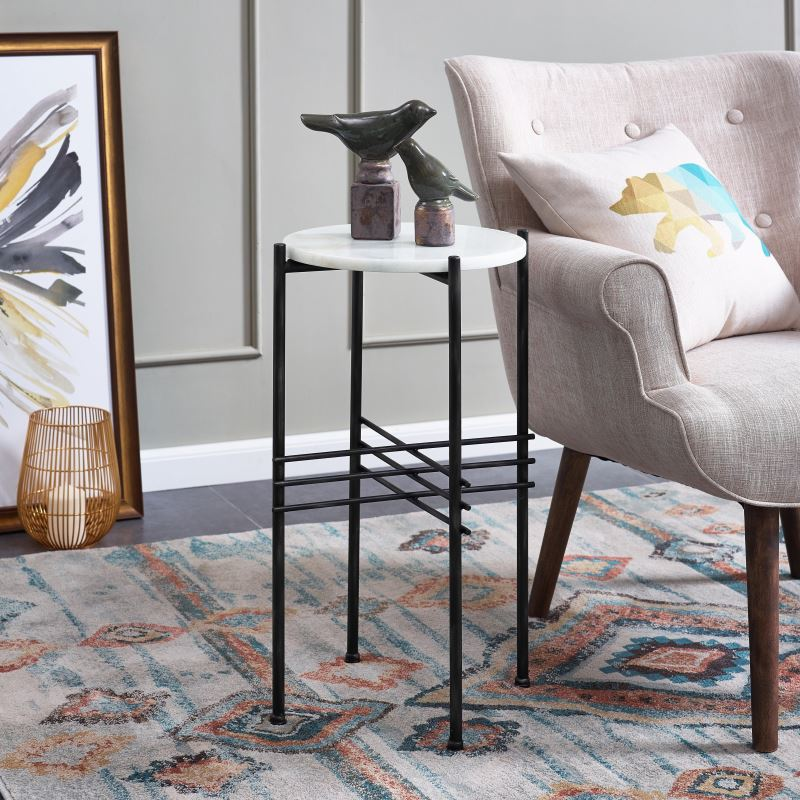 dessa tall marble and metal frame end table