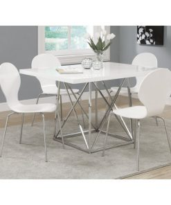 devin white glossy marble top with chrome metal base dining table
