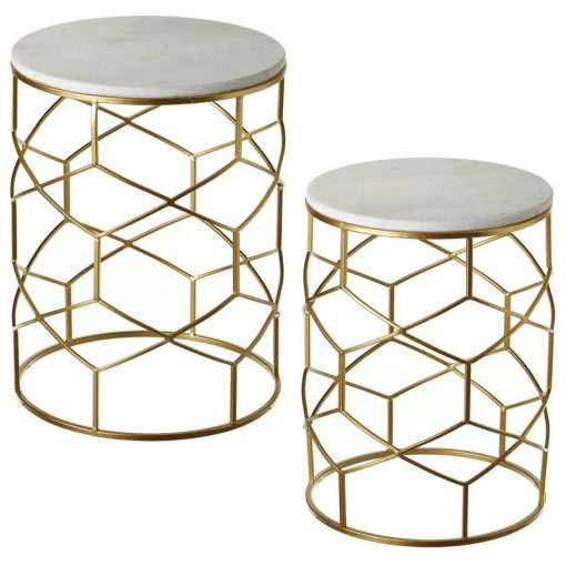 diane 2 piece marble top and metal frame nesting table