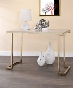 diane faux marble and champagne frame console tables