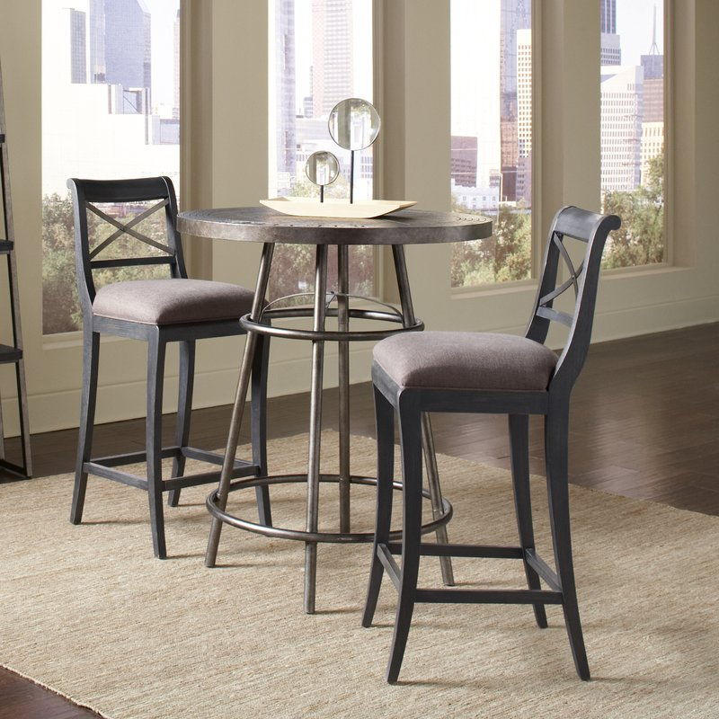 diaz medium brown wood tabletop and charcoal frame pub table