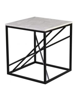 dorothea contemporary style marble top and powder coated iron frame end table