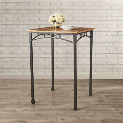 dottie square oak tabletop with metal base pub table