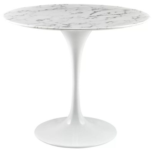 elinor artificial white marble with laquered metal base dining table