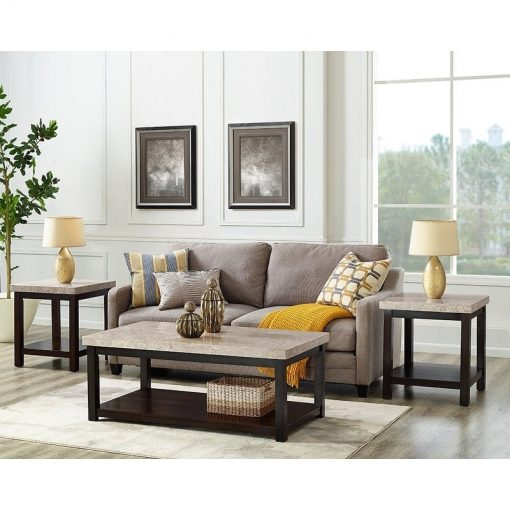 elmira espresso marble tabletop and wood base end table