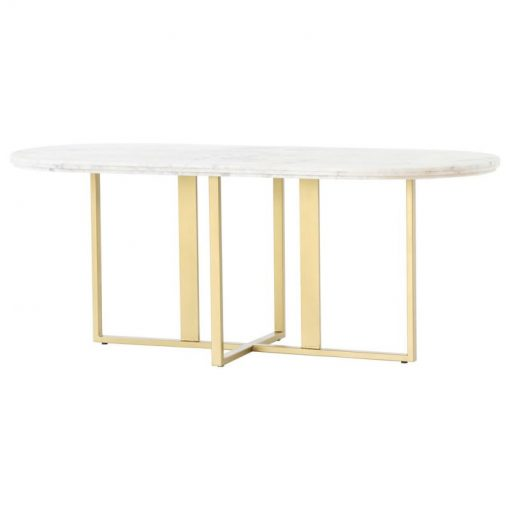 eloise gold legs with beautiful white oval marble dining table