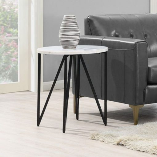 emery white and black marble and metal round contemporary end table