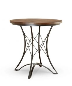 emily industrial wood tabletop and metal frame pub table