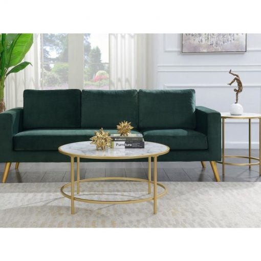 emmy gold coast round marble coffee table
