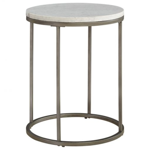 estina round marble tabletop and metal frame end table