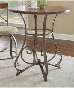 evike wooden tabletop and curved scroll metal legs pub table