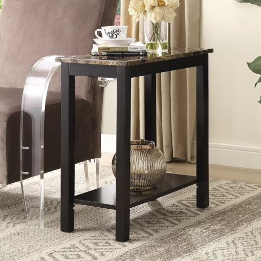 faustina espresso wooden and faux marble side table