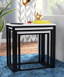 gillian 3 piece marble tabletop square tube frame nesting end tables