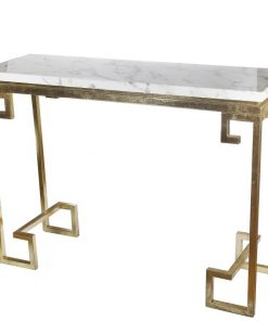 gulliver goldtone iron and white marble console table