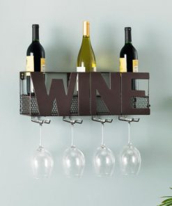 halsey five bottle brown wall mount wine holder with glass rack
