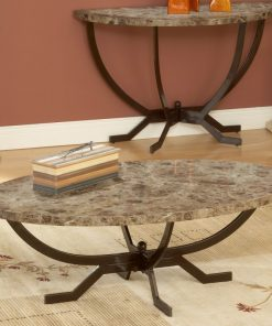 harper marble oval table top with polished tubular steel frame