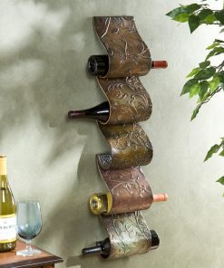 hibiscus 5 bottle metal wall mount wine rack sculpture