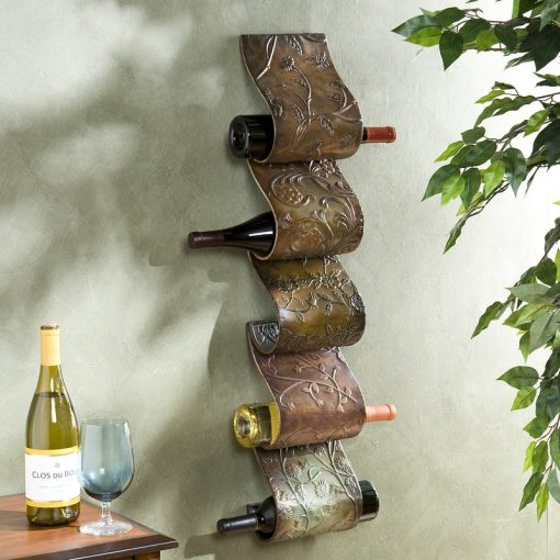 hibiscus 5 bottle metal wall mount wine rack sculpture