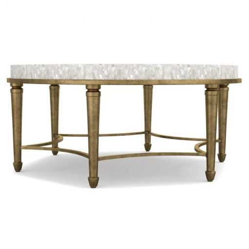 ines round aura cocktail coffee table with shell top