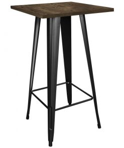 jamey square wood tabletop with four legged metal base pub table