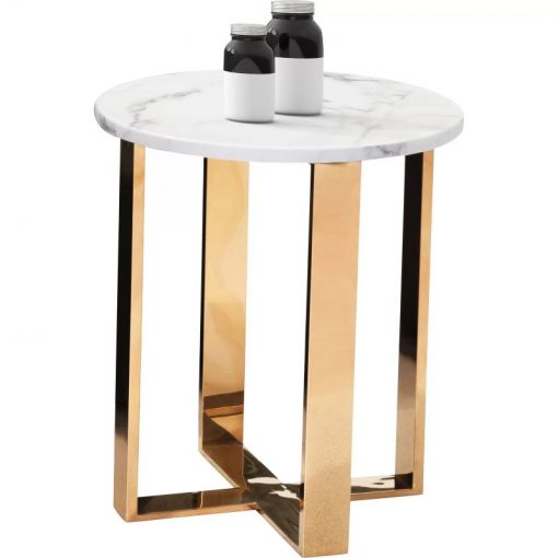 janae modern marble and stainless steel round end table