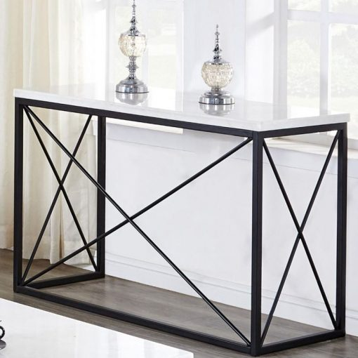 janou rectangle white marble top and black metal frame console table