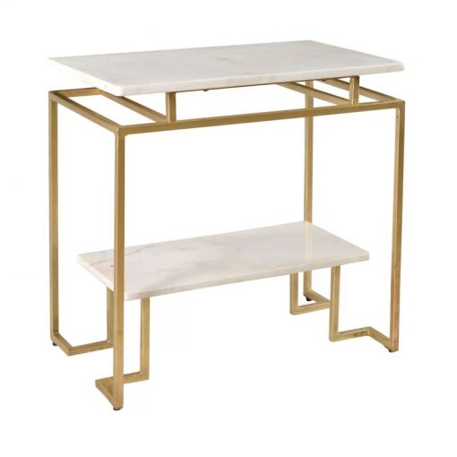 jeanne gold accent table with marble top