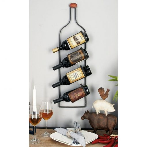jessie rustic 4 bottle wall mounted iron wine rack