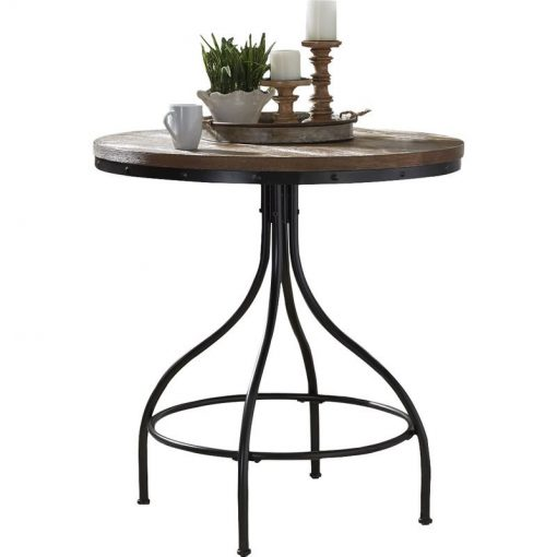 joya industrial style distressed wood tabletop with metal base pub table