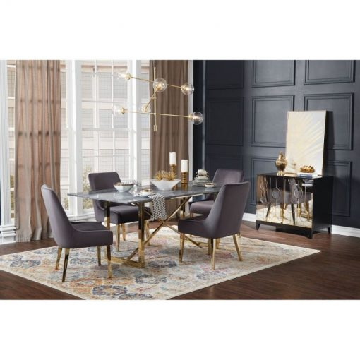 joya rectangular black marble top and x cross metal base dining table