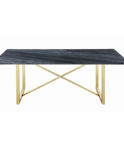 joya rectangular black marble top and x cross metal base dining table