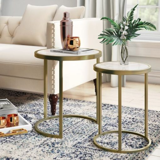 kamryn round 2 piece nesting accent tables in metal