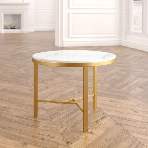 kathy mid century round gold coffee table with white marble