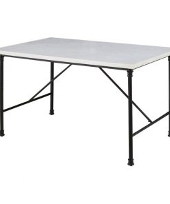 kaya white marble top and industrial style stretchers dining table