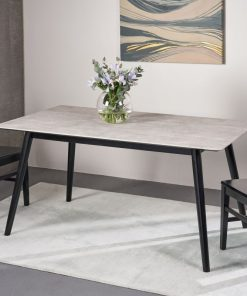 kelly modern dining table with rubberwood legs and laminate table top