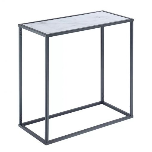 kiera marble top with powder coated metal frame end table