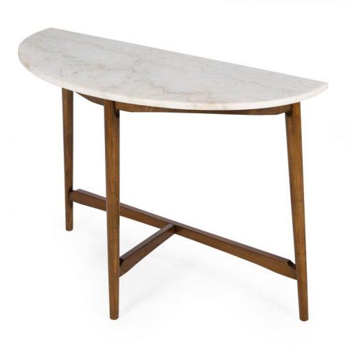 kincaid half round mid century modern marble sofa table