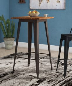 kore elm wood top with angular steel frame pub table