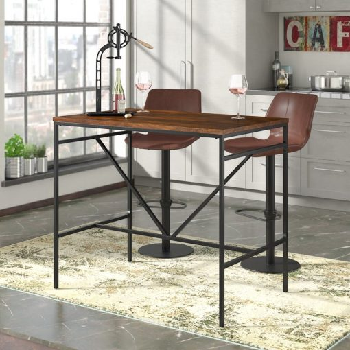 kore industrial rectangle wood tabletop and v shaped metal frame pub table