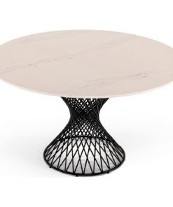 krissy modern round white cultured marble dining table