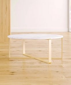 kynsa round marble coffee table with cross base