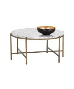 laila round metal frame with carrara top coffee table