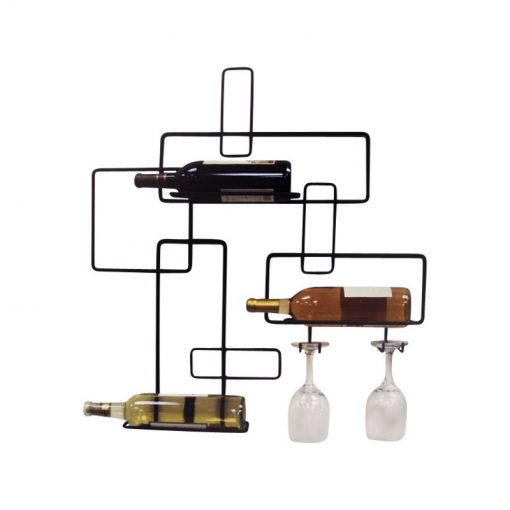 lainey contemporary wine bottle and glass holder