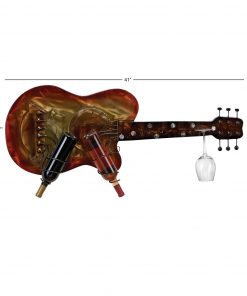 lena charming eclectic guitar iron wall mounted wine rack