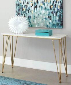 lennox white marble top and brass metal frame console table