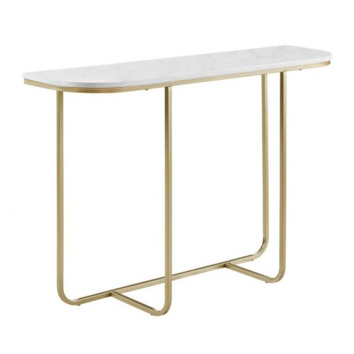 lida white faux marble and golden metal frame entry table