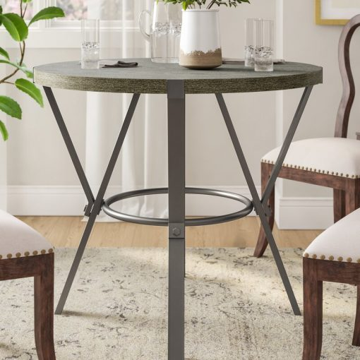 linden ash veneer top and coated iron base pub table