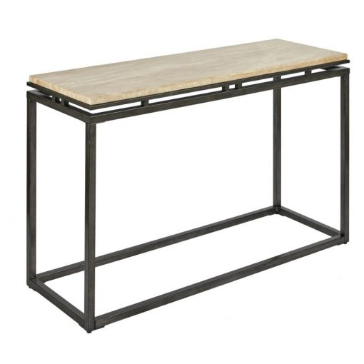 linen cream marble with gunmetal metal base console table