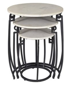 livia 3 piece round nesting table white and black